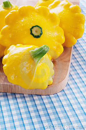 Yellow Peter Pan Squash with Blue Check Tablecloth