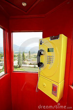 Yellow phone in the red box