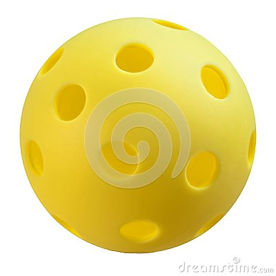 Free Yellow Pickleball On White Background. Royalty Free Stock Images - 111281269