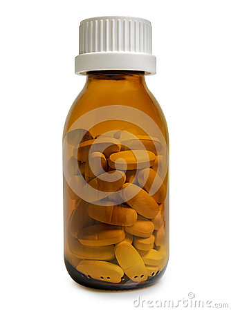 Free Yellow Pill Bottle Isolated On White Background Royalty Free Stock Photography - 43668187