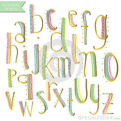 Free Yellow Pink Blue Green Gold Colorful Ink Alphabet Letters. Stock Image - 70682871