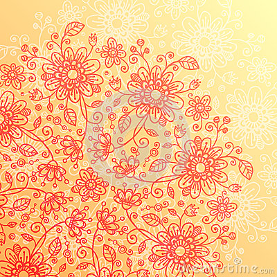 Yellow and pink doodle flowers vintage background