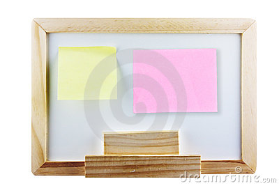Yellow and pink memo not on whiteboard