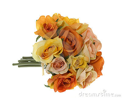 Yellow, Pink and Orange Rose Bouquet of Flowers