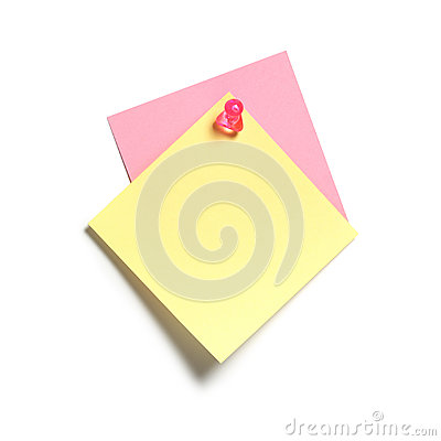 Yellow and Pink Sticky Note
