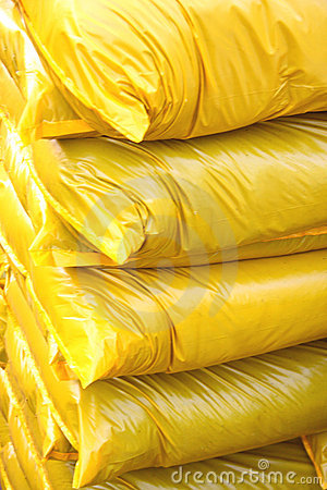 Yellow plastic bags