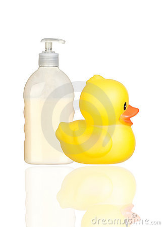 Yellow plastic duck and boat bath dispenser isolat