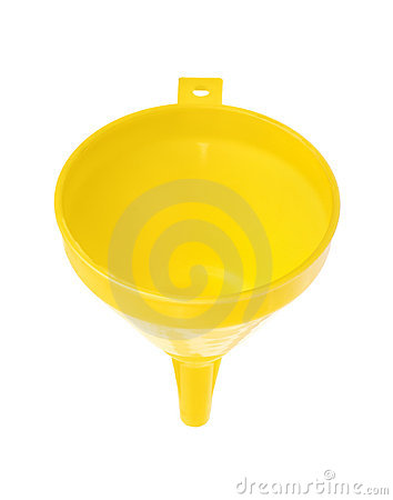 Yellow plastic funnel on white