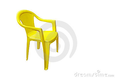 Yellow plastic garden chair