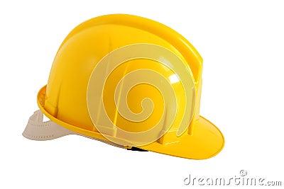 Yellow plastic hard hat
