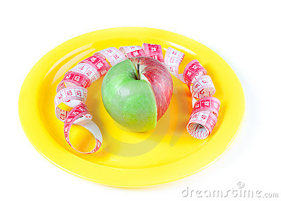 Yellow plate with mixed apple