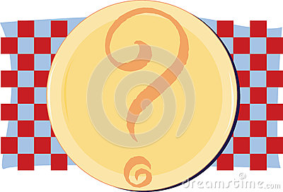 Yellow plate on red and blue checkered background