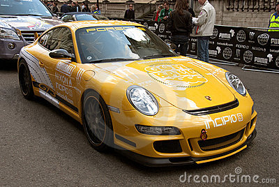 Yellow Porsche 911 GT3  Gumball Rally London 2010 Editorial Stock Photo