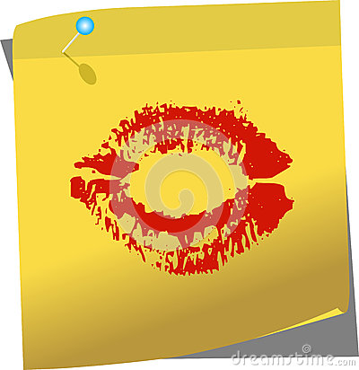 Yellow post-it with female lips