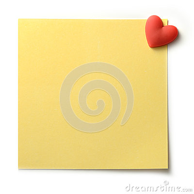 Yellow Post Note with heart pin