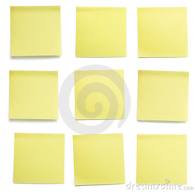 Yellow post-it papers set