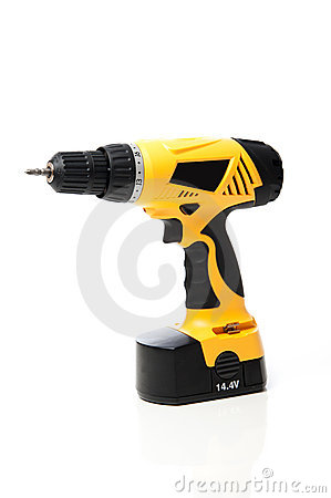 Yellow power drill isolated