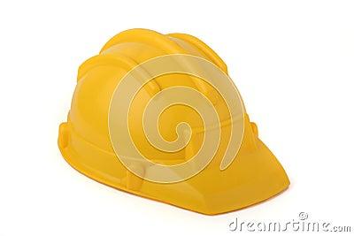 Yellow protective helmet