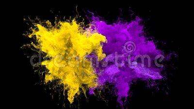 Yellow Purple Color Burst Multiple Colorful Smoke Explosions Fluid Alpha Matte Stock Footage Video Of Motion Colored 144612284