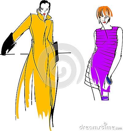 Yellow Purple Fashion Girl