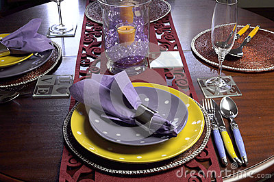 Yellow and Purple table place setting