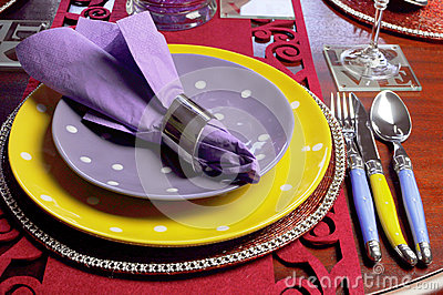 Yellow and Purple table place setting - close up