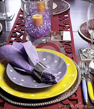 Yellow and Purple table place setting - vertical.