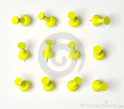 Yellow Push Pins