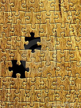 Yellow puzzle pattern with two missing pieces