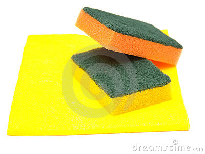 Yellow rag and kitchen sponge