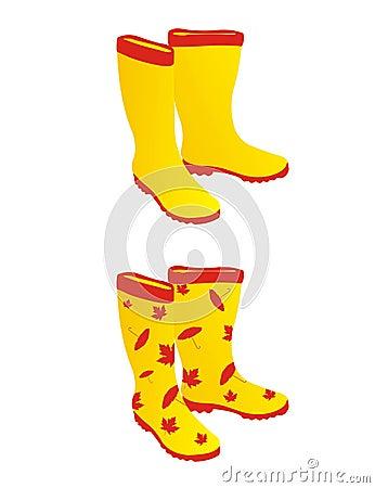 Free Yellow Rain Boots Royalty Free Stock Image - 15869776