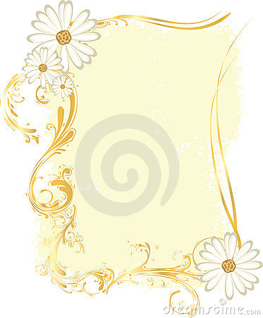 Yellow Rectangular Frame with Flowery Ornaments