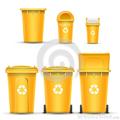 Yellow Recycling Bin Bucket Vector For Plastic Trash. Opened And Closed. Front View. Sign Arrow. Isolated Illustration Vector Illustration