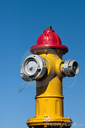 Yellow and red fire hydrant