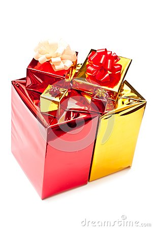 Yellow and red gifts boxes