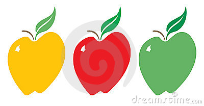 Yellow, Red and Green Apples