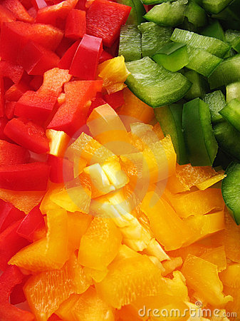 Yellow, red and green peppers Bulgarian. Slicing.