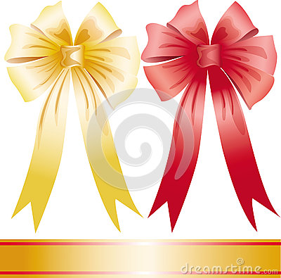 Yellow and red holiday bow