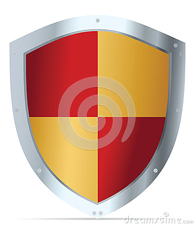 Yellow and red steel shield