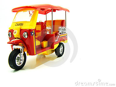 Isolated yellow and red tuk-tuk