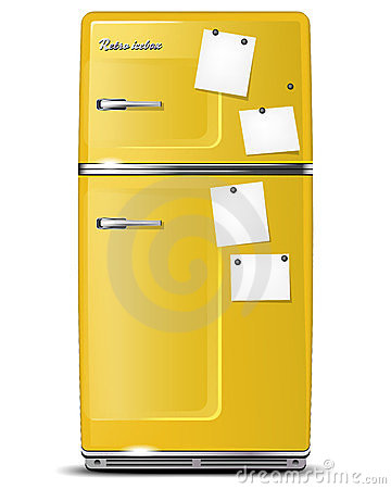 Yellow retro refrigerator with paper stickies