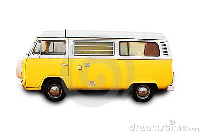Yellow retro van - isolated
