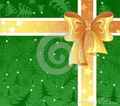 Yellow ribbon on a green background