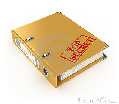 Yellow ring binder with top secret stamp