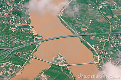 Yellow river and bridge