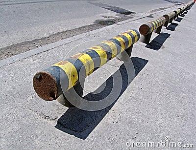 Yellow road barier, hazard warning,