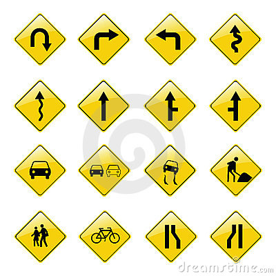 Free Yellow Road Sign Icons Stock Photos - 2266243