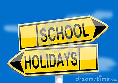 Yellow road signs with inscriptions school holidays