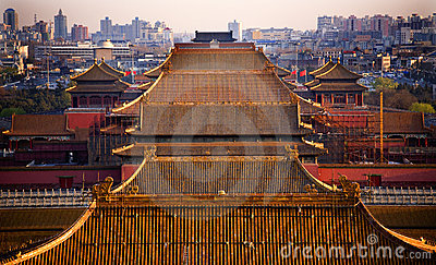 Yellow Roofs Forbidden City Beijing China Stock Image - Image: 5955241