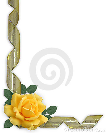 Free Yellow Rose And Gold Ribbon Border Royalty Free Stock Photography - 7774797